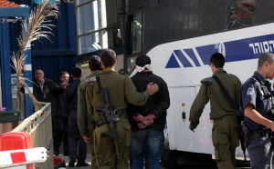 A bus of the Israeli Prison Service transfers on Dec 15 2011 Palestinian prisoners, who are to be exchanged on Sunday from Offer Prison. Photo by Yossi Zamir/Flash 90